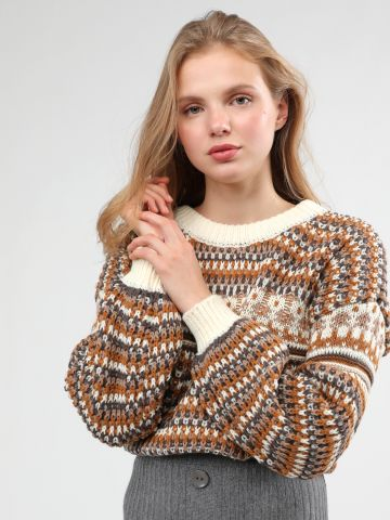 סוודר בדוגמת פסים מולטי קולור