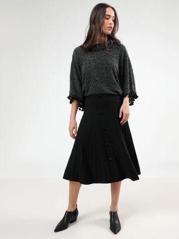 חצאית מידי פליסה ריב עם כפתורים