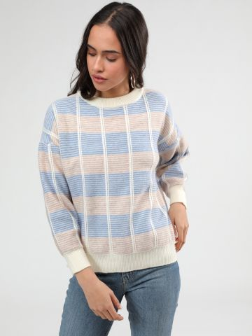 סוודר בדוגמת משבצות מולטי קולור