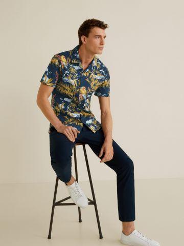 חולצה מכופתרת עם הדפס בסגנון הוואי