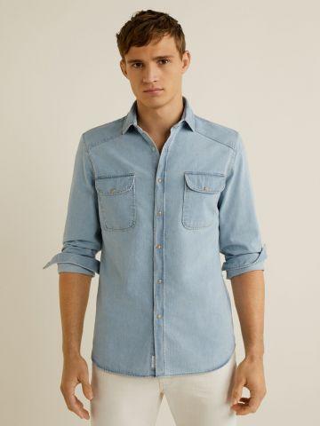 חולצת ג'ינס מכופתרת סלים