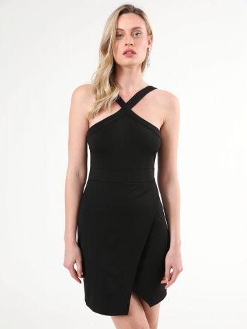 שמלת מעטפת מיני עם צווארון קולר איקס