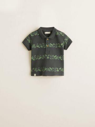 חולצת פולו פיקה בהדפס פסי עלים / בייבי בנים