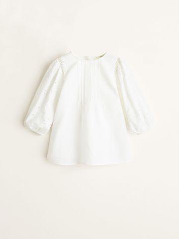 שמלת פשתן עם שרוולים נפוחים בעיטור תחרה / בייבי בנות