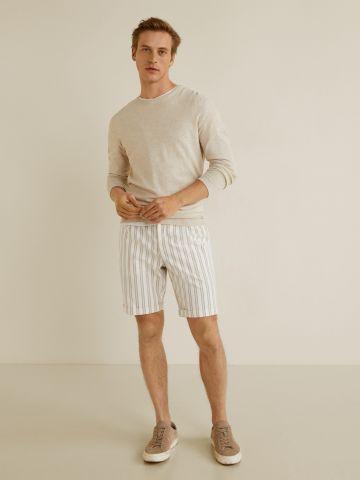 מכנסי ברמודה בהדפס פסים