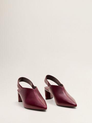 נעלי עקב עור עם רצועת קרסול אחורית
