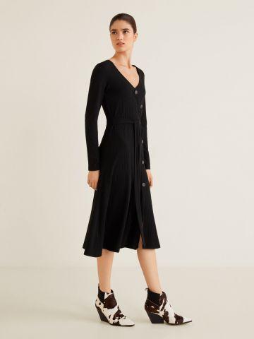 שמלת מידי ריב עם כפתורים דקורטיביים