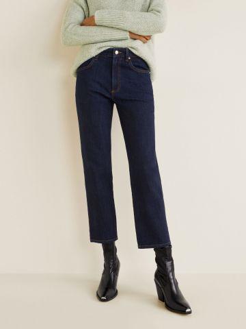 ג'ינס קרופ ישר בשטיפה כהה