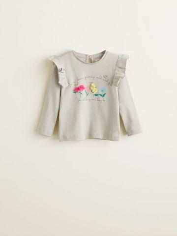חולצה בהדפס פרחים בשילוב טול ומלמלה / בייבי בנות