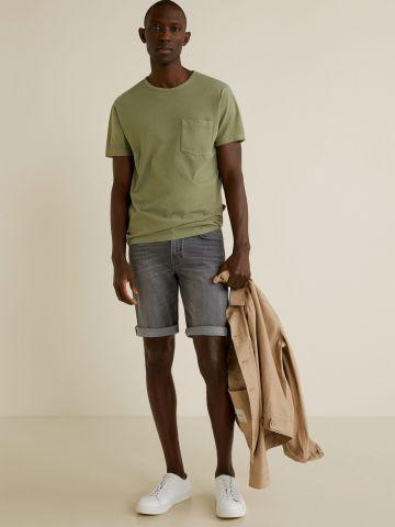 ג'ינס קצר עם קיפולים בסיומת / גברים