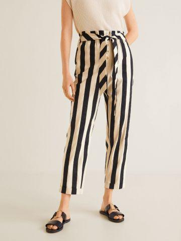 מכנסיים בהדפס פסים עם חגורת קשירה