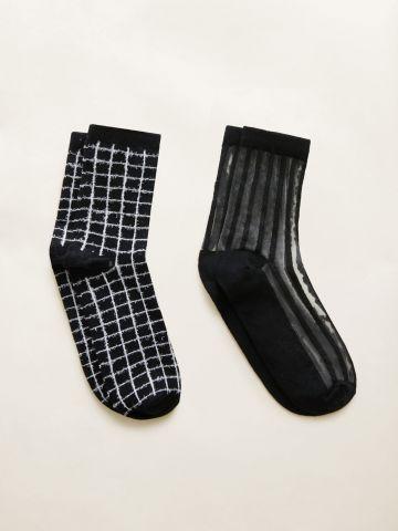מארז 2 זוגות גרביים בעיצובים שונים / נשים