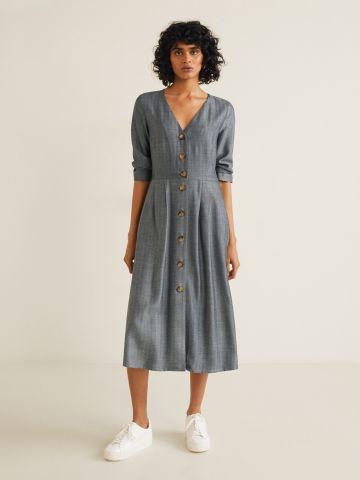 שמלת מידי מכופתרת עם שרוולים ארוכים