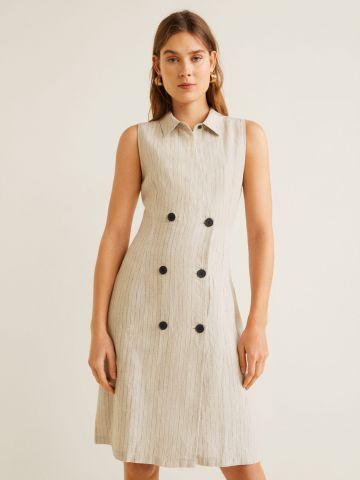 שמלת פשתן מידי בהדפס פסים