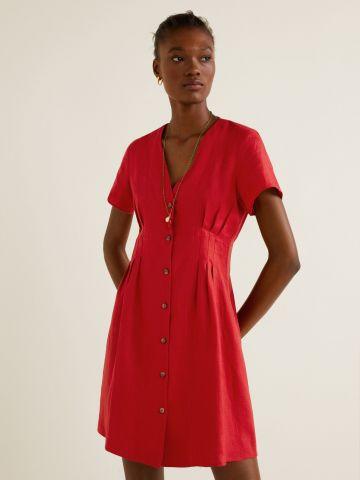 שמלת פשתן מיני עם עיטורי קפלים