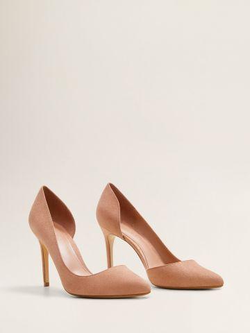 נעלי עקב סטילטו דמוי זמש עם פתח בצד
