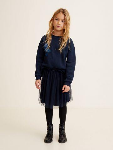 חצאית טול מיני עם פס קטיפה / בנות