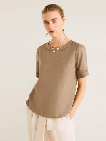חולצת פשתן עם פסי רשת
