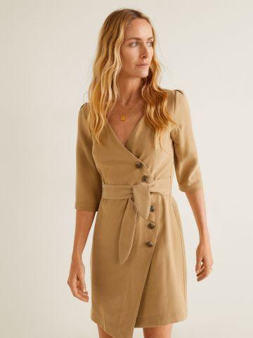שמלת מעטפת מיני עם כפתורים וחגורת קשירה