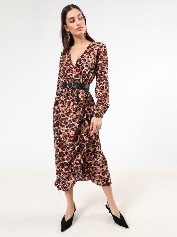 שמלה מנומרת מקסי בסגנון מעטפת