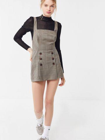 אוברול חצאית קצר בהדפס משבצות UO
