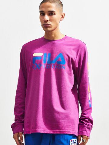 טי שירט שרוולים ארוכים עם הדפס לוגו Fila