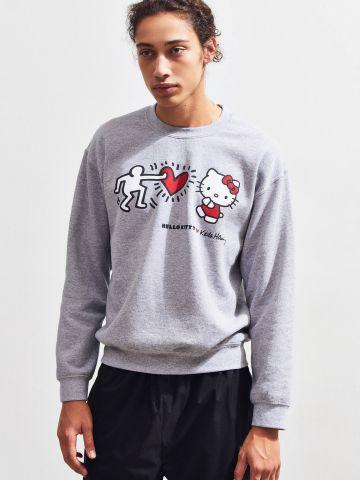 סווטשירט עם הדפס Hello Kitty X Keith Haring UO