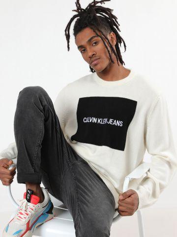 סוודר לוגו בוקס בשילוב צמר