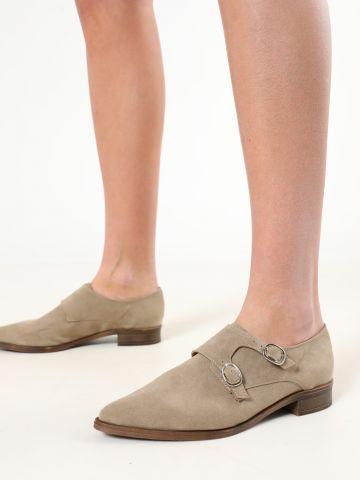 נעלי אוקספורד דמוי זמש עם רצועות