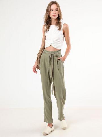 מכנסי פשתן פייפרבאג ארוכים עם חגורת קשירה