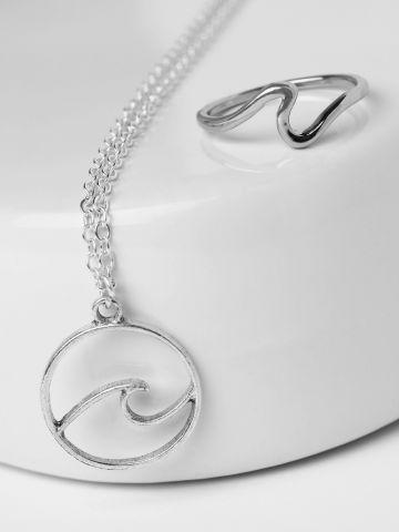סט שרשרת וטבעת גל בגימור מטאלי