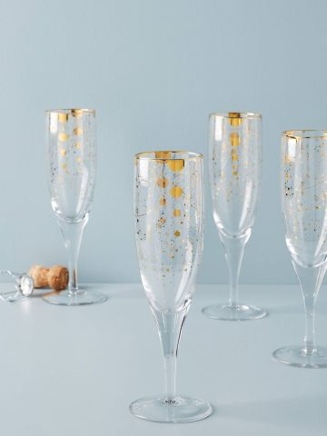 מארז 4 כוסות שמפניה עם עיטורים מוזהבים Celine