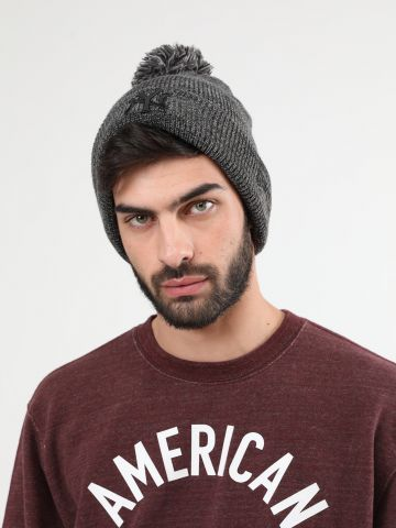כובע גרב מלאנז' עם פונפון ורקמת יאנקיז