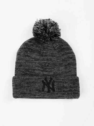 כובע גרב מלנז' עם פונפון ורקמת יאנקיז / גברים