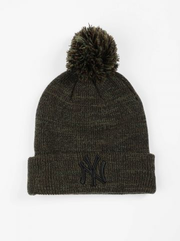 כובע גרב מלאנז' עם פונפון ורקמת יאנקיז / נשים