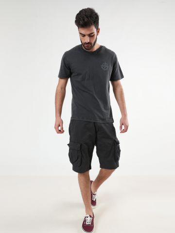 מכנסי דגמ״ח קצרים עם רקמת לוגו