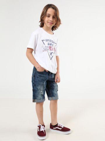 ג'ינס קצר ווש עם קרעים