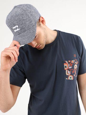 כובע מצחייה קנבס מלאנז' עם פאץ' לוגו / גברים