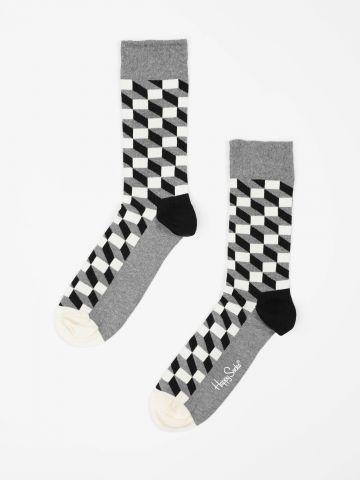 גרביים מעל הקרסול בהדפס מלבנים / גברים