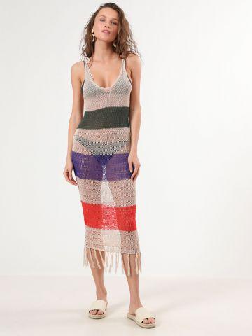 שמלת קרושה פסים עם פרנזים בסיומת