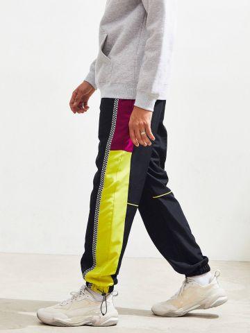 מכנסי ניילון ארוכים קולור בלוק UO