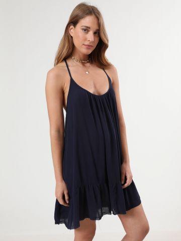 שמלת פפלום מיני עם כיסים