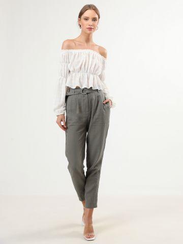 מכנסי פייפרבאג ארוכים עם חגורת מותן