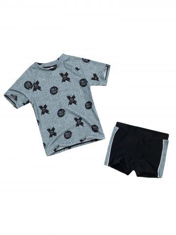בגד ים שני חלקים עם הדפס איקס עיגול / בייבי בנים