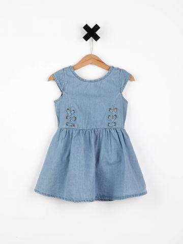 שמלת ג'ינס פפלום בעיטור שרוכים / בייבי בנות