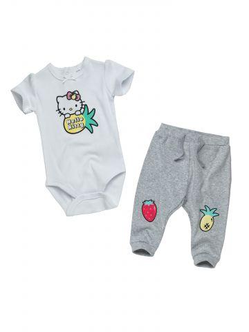 סט בגד גוף ומכנסיים Hello Kitty גליטר / בייבי בנות