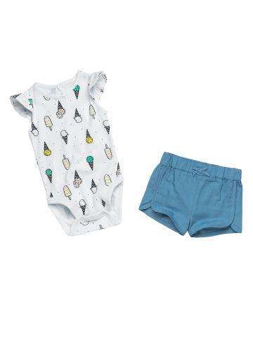 סט בגד גוף ומכנסיים קצרים / בייבי בנות