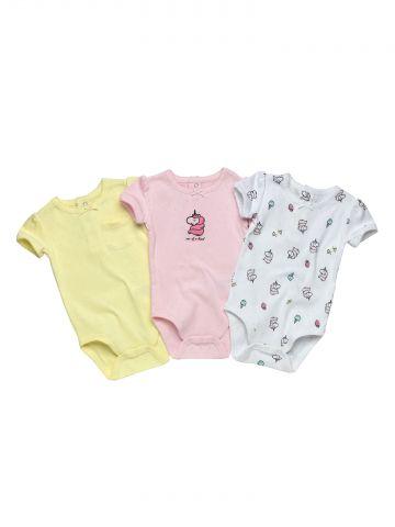 מארז 3 בגדי גוף Unicorn / בייבי בנות