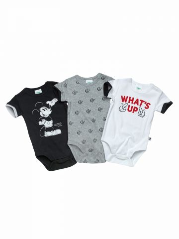 מארז 3 בגדי גוף עם הדפסי מיקי מאוס / בייבי