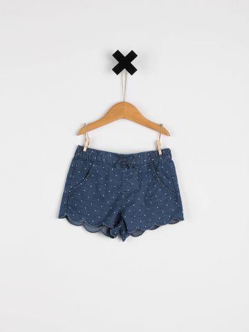 ג'ינס קצר בהדפס נקודות / בייבי בנות